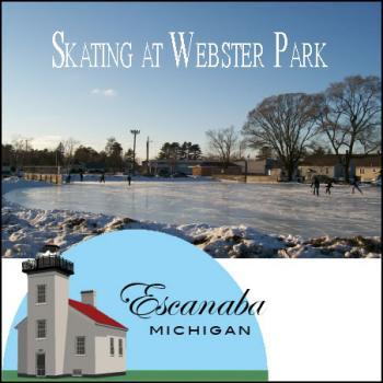 Skating in Webster Park in Escanaba Michigan