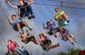 Kids having fun at the Northwestern Michigan Fair in Traverse City Michigan