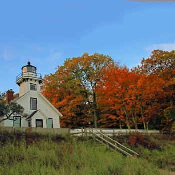 Autumn at Old Mission Lighthouse at the end of M-37 and Old Mission Peninsula