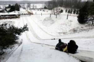 downhill sledding at Echo Valley Winter Sports Park in Kalamazoo Michigan