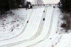 Sledding at Echo Valley Winter Sports Park in Kalamazoo Michigan