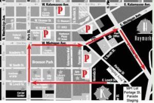 Parade Route for the Kalamazoo Holiday Parade in Kalamazoo Michigan
